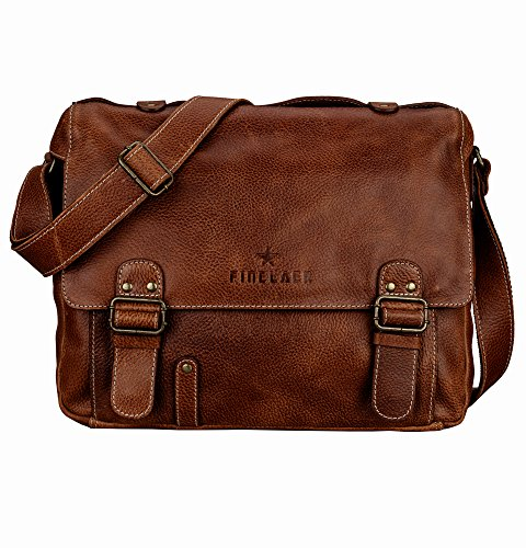 Executive Briefcase - Finelaer Genuine Leather Flap-Over Executive Laptop Messenger Briefcase Shoulder Bag