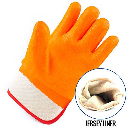 Better Grip BG105ORG Heavy Duty Premium Sandy finished PVC Coated-Supported Glove with Safety Cuff, Chemical Resistant, Large, Fluorescent Orange, Sanitation Gloves (12 Pair) by Better Grip (Image #3)