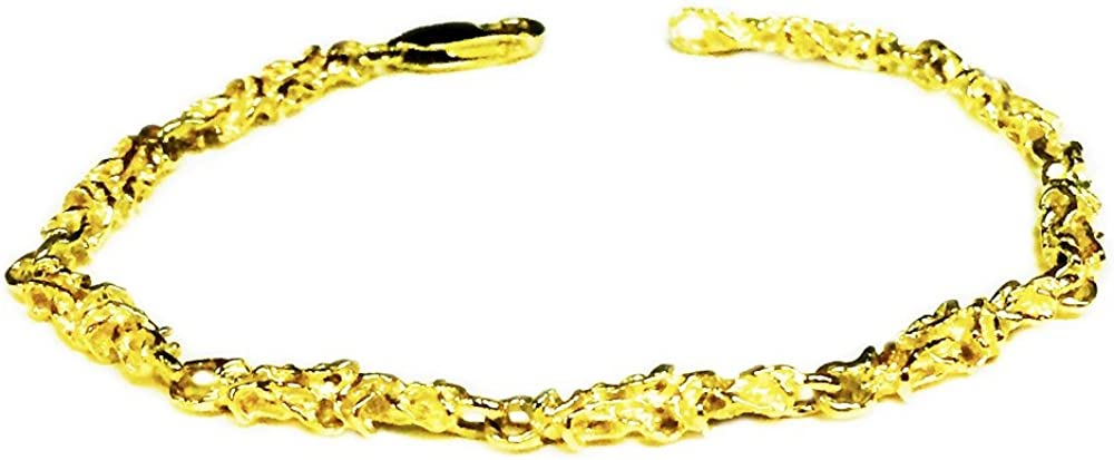 """14kt Solid Yellow Gold Handmade Nugget link chain/Bracelet 9"""" 12 grams 4.5 MM"""