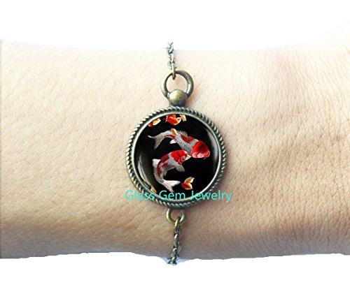 Koi Fish Bracelet, Japanese Koi Fish, Japanese art Bracelets, Koi Fish art, Asian Art Locket - Delivery Very.co.uk Free
