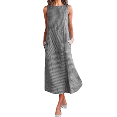 c643071fb4 Dresses for Women Casual Summer Long with Pockets Sexy Striped Sleeveless  Cotton Linen A-Line