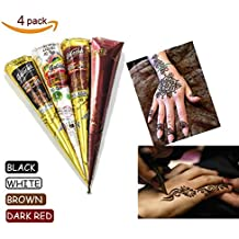 DZL 4Pcs Black brown red white Cones Indian Tattoo Paste For Temporary Tattoo body art StickerTemporary Paste Cone Body Art Painting With Free Stencil Set,Randomly Free template