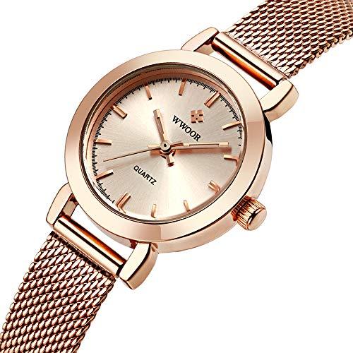WWOOR Women's Watch Fashion Analog Quartz Watches with Stainless Steel Mesh Band Waterproof Wristwatch Casual Gift Watch Ladies (Rose - Ladies Wristwatches