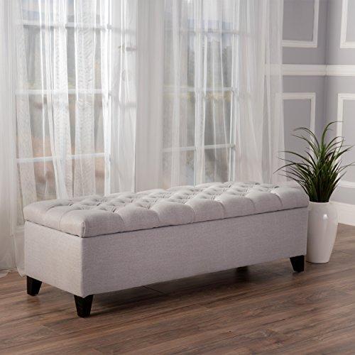 "Christopher Knight Home 299246 Living Charleston Light Grey Tufted Fabric Storage Ottoman, 17.50""D x 51.25""W x 17.43""H"