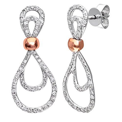 Revoni Alliance-Or blanc et or rose 9carats Diamant Boucles d'oreilles Goutte d'eau