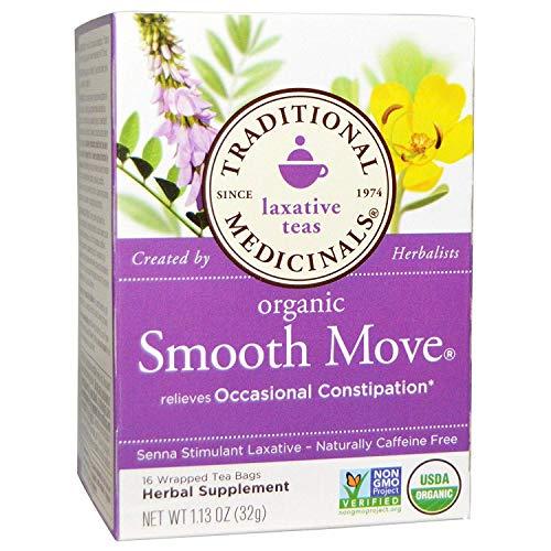 (Traditional Medicinals, Organic Smooth Move, Senna Stimulant Laxative, No  Caffeine, 16 Wrapped Tea Bags, 1.13 oz)