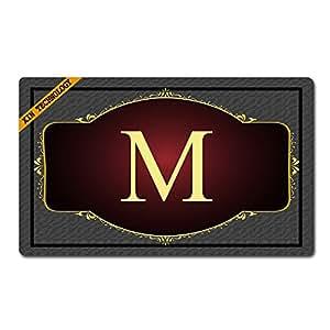 """artsbaba personalizado tu texto Felpudo gris fondo de letra M Monogram Doormats monograma antideslizante Felpudo non-woven fabric felpudo interior entrada alfombra alfombrilla de decoración (30""""X 18"""""""