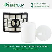 FilterBuy Shark NV650 HEPA, Foam & Felt Filter Kit, Part #s XHF650 & XFF650. Designed by to fit Shark Rotator Lift-Away NV650, NV650W, NV651, NV652, NV750, NV751 & NV752