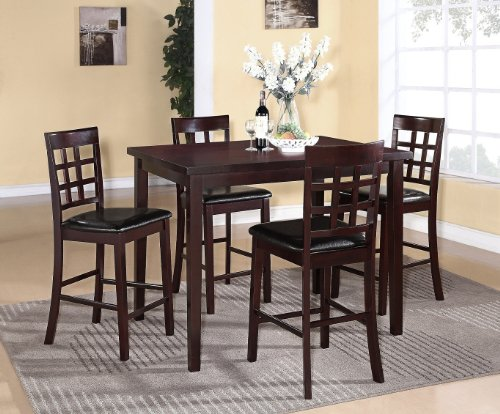 Roundhill Furniture Poka 5PC Espresso Finish Rectangle Wood Counter Height Dining Set (Table Rectangle Counter Height)