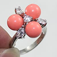A.Yupha Valentines Day 8mm Sea Shell Pearl Jade 18K Gold Plated Ring Women Jewelry Gift#CS (8)
