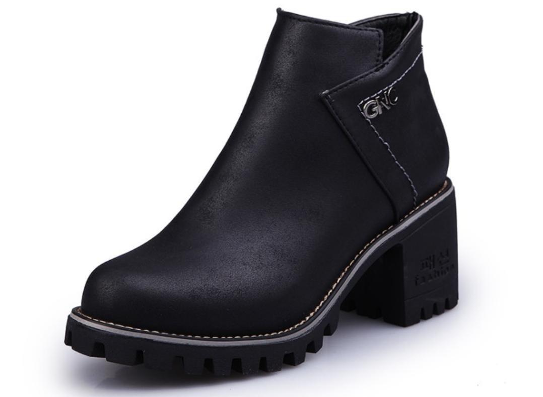 XDGG Frauen Die neue künstliche PU Stiefel runde runde runde Kopf Martin Stiefel Freizeit Single Schuhe , 36 74e0c8