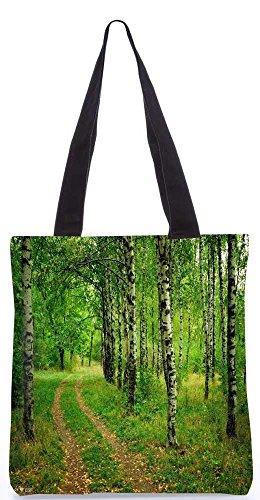 """Snoogg Abstrakte Weiße Bäume Tragetasche 13,5 X 15 In """"Einkaufstasche Dienstprogramm Trage Aus Polyester Leinwand"""