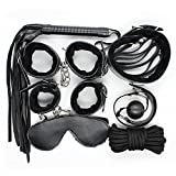 JIAHAO 7pcs Adult Game Restraint Set Leather Fancy Roleplay Rope Cuffs Paddle Collar Black