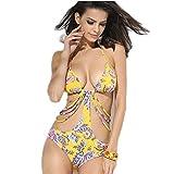 Women's Sexy One-piece Print Trikini String Bikini Swimsuit (XL)