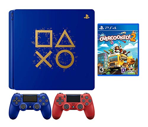 PlayStaion 4 Overcooked! 2 Days of Play Limited Edition Bundle: PlayStation 4 Days of Play Limited Edition 1TB Console, Overcooked! 2 Game and Extra Red Dualshock 4 Wireless Controller