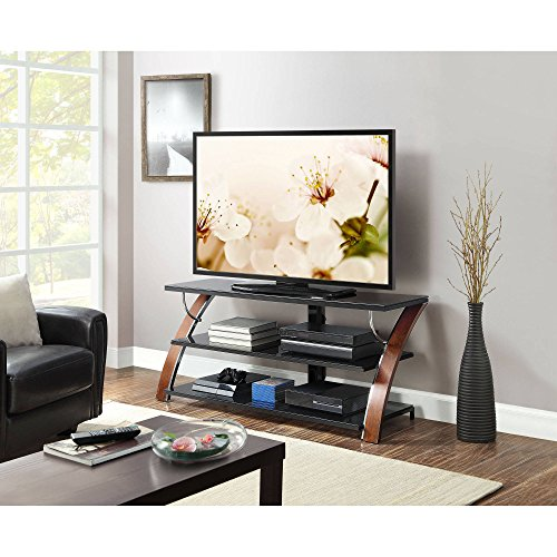 Flat Screen TV Stand Brown Cherry Finish Console 65 inch Storage Media TV Cabinet Display Shelf Shelves Unit Living Room Furniture Organizer Entertainment Center from Garden FL