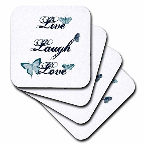 3dRose cst_130535_1 Live, Laugh, Love Teal Butterflies Inspirational Art-Soft Coasters, Set of 4