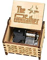 Youtang gudfadern musiklåda 18 Obs Windup urverksmekanism graverad trä musiklåda för barn, lek tala mjukt kärlek, brun