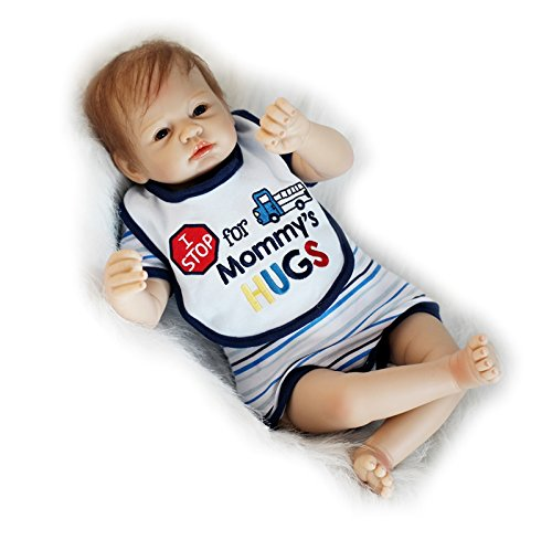 Lifelike Newborn Boy Awake Dolls Silicone Reborn Babies in Blue Eyes,22-Inch (Silicon Baby Dolls That Move)