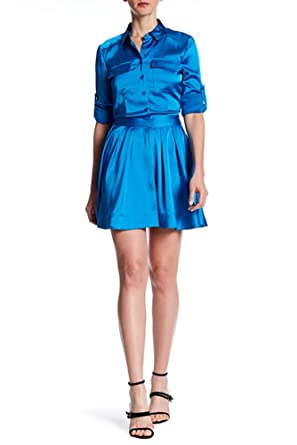 d68898b556b Image Unavailable. Image not available for. Color  DKNY Long Sleeve Satin Shirt  Dress ...