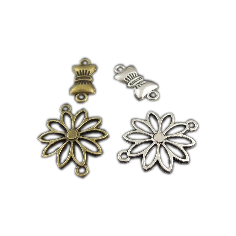 juliewang 80 Bronze Silber gemischt Schleife Blume Charms Anhänger ...