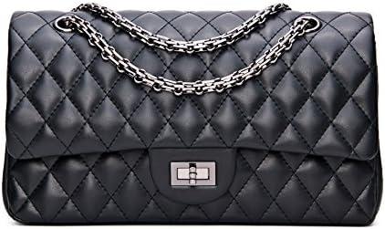 8bb3fdb222bb Buy SanMario Designer Handbag Lambskin Classic Quilted Grained Double Flap  Black Metal Chain Women s Crossbody Shoulder Bag Black 25.5cm 10 Online at  Low ...
