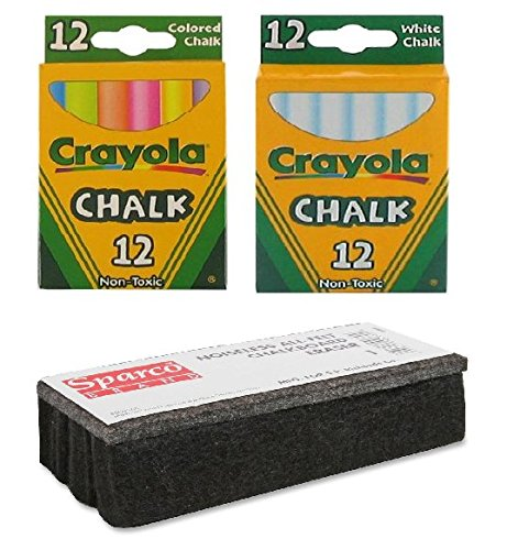 Crayola Non-Toxic White Chalk(12 ct box) and Colored Chalk (12 ct box) (Non Toxic Chalk)
