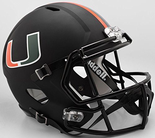 Riddell NCAA Miami Hurricanes Helmet Full Size ReplicaHelmet Replica Full Size Speed Style Miami Nights Design, Team Colors, One Size