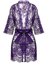 Women s Kimono Eyelash Lace Robe Babydoll Lingerie Mesh Chemise Nightdress  Nightgown 258a03796