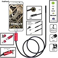 FindFine Red 2M 6.5FT Cable 8mm Lens 2 In 1 Dual Usb HD borescope For Android OTG Phone inspection Pipe IP68 Waterproof Side mirrors micro USB endoscope