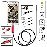 FindFine® Red 2M 6.5FT Cable 5.5mm Lens 2 In 1 Dual Usb Android Smartphone HD Endoscope Inspection Ultra Slim 6 LEDs IP67 Waterproof Snake Borescope Mini USB Inspection Camera