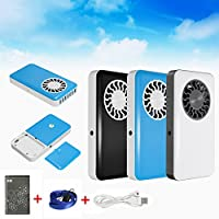2Pcs Portable Handheld USB Mini Air Conditioner Cooler Fan With Rechargeable Battery (Black)