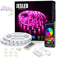 Bluetooth LED Strip Lights 10M, JESLED 5050 RGB Neon Lights with RF Controller, 300LEDs, Smart Rope Lights Sync to Music…