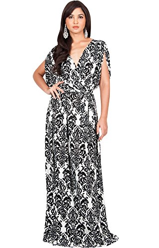 KOH KOH Petite Womens Long Lace Printed Formal Short Sleeve V-Neck Evening Casual Summer Spring Elegant Vintage Maternity Gown Gowns Maxi Dress Dresses, White and Black S 4-6