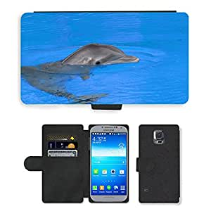 PU LEATHER case coque housse smartphone Flip bag Cover protection // M00111876 Dolphin Fish Dolphins Animal Mammal // Samsung Galaxy S5 S V SV i9600 (Not Fits S5 ACTIVE)