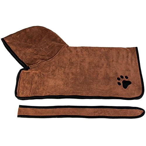 , stylish Pet Dog Drying Bath Towel Absorbent Shower Hood Bathrobe Clothes(Brown XL) from FINIFLY