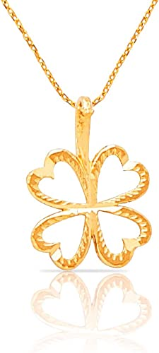 14K Solid Real Yellow Gold Very Small Light 4 Four Leaf Clover Charm Pendant