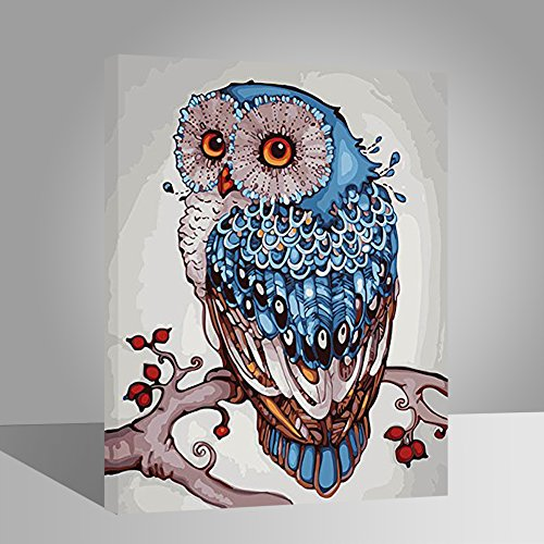 LIUDAO DIY Oil Painting on Canvas Paint by Number Kits for Kids Beginner Adults Decoration Gift -Lucky Owl(16x20 inch,Wooden Framed) (On Canvas Owl)