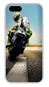 Biker Looking Back Polycarbonate Plastic iPhone 5S and iPhone 5 Case Cover White