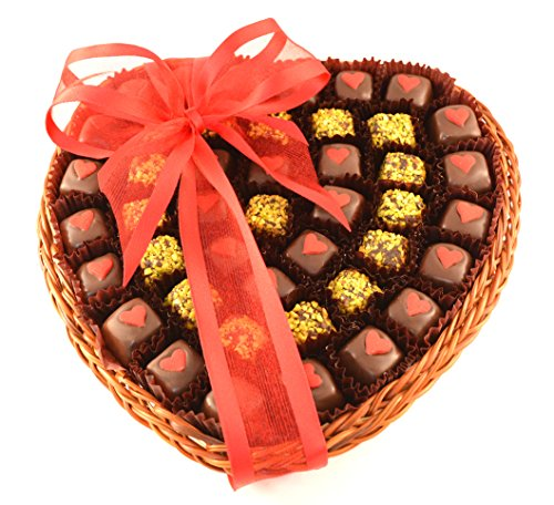 Anniversary Heart Shaped Natural Bamboo Basket - Date Bites