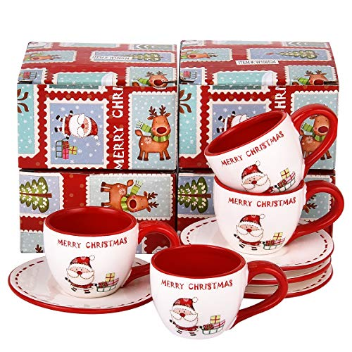 Set of 4 Tea Cups and Saucers with Merry Christmas - China Tea Set for Christmas Party - Espresso Demitasse Cups with Saucers 3 Ounce (Tea Christmas And Saucer A Cup Of)