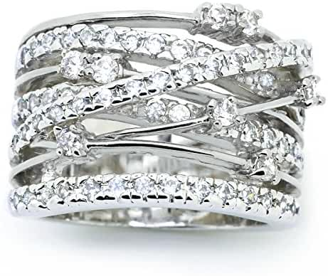 Sparkly Bride Crossover CZ Rhodium Plated Wide Band Fashion Statement Ring