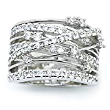 Sparkly Bride Crossover CZ Fashion Statement Ring Wide Band Rhodium Plated size 4.5