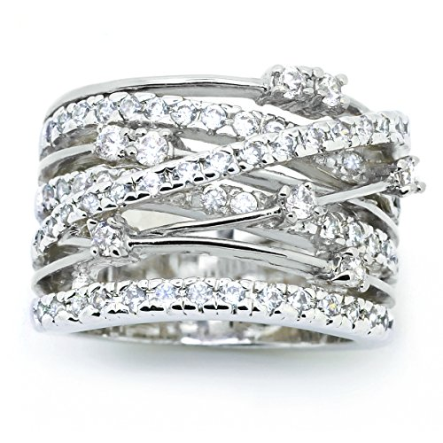 Sparkly Bride Crossover CZ Fashion Statement Ring Wide Band Rhodium Plated Size 7