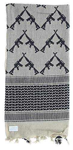 Premium Heavyweight Shemagh Scarf with ARMY UNIVERSE Pin - Crossed Rifles Tan & Black