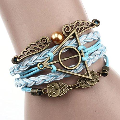 Doinshop Infinity Love Heart Pearl Friendship Antique PU Leather Charm Bracelet