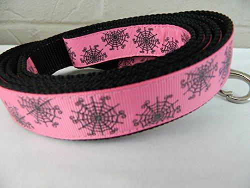 Schmoopsie Couture Halloween Black Spider Web Sparkle on Hot Pink Dog Leash (1
