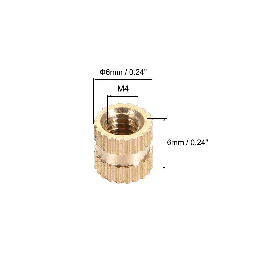 Female Thread Brass Blind Embedment Assortment Kit x 6mm M4 x 6mm uxcell Knurled Insert Nuts 50 Pcs L OD