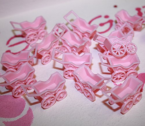 Pink Girl Stroller Baby Shower Charms - 1.25 inch - Bag of 12 Baby Carriages