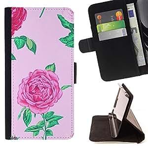 - Queen Pattern FOR HTC Desire 820 /La identificaci????n del cr????dito ranuras para tarjetas tir????n de la caja Cartera de cuero cubie - begonia floral pink spring flower petal